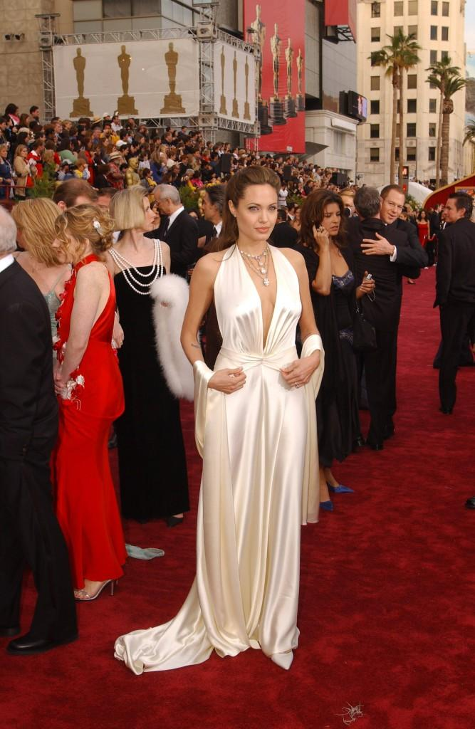 Angelina Jolie party white color dress photos