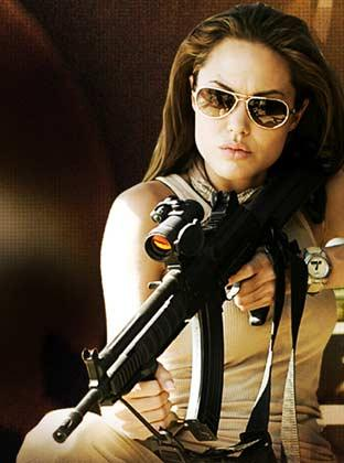 Angelina Jolie machine gun wallpaper