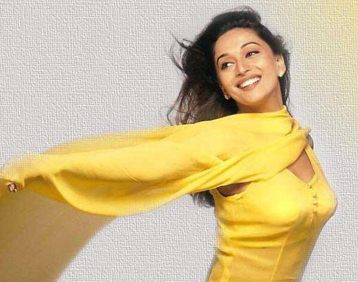 Madhuri Dixit in yellow dress