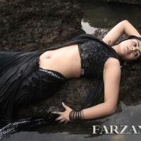 Actress Farzana black color saree spicy wallpaper