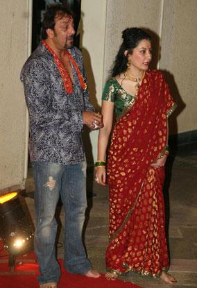 Sanjay and maanyata gorgeous red saree still