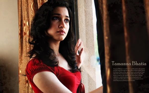 Tamanna bhatia red dress wallpaper  still