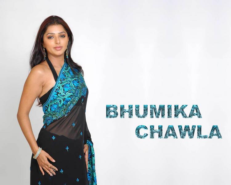 Bhumika Chawla Blue Saree Hot  wallpaper