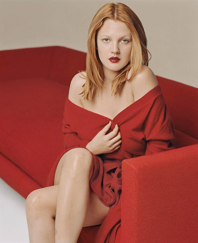 Drew Barrymore red dress spicy photo shoot
