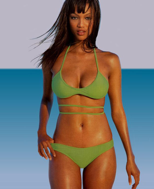 Tyra banks green bikini dress pictures