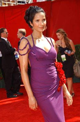 Padma lakshmi tight violet color dress still