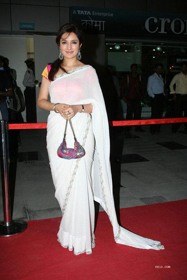 Tisca Chopra in whete saree awesome still