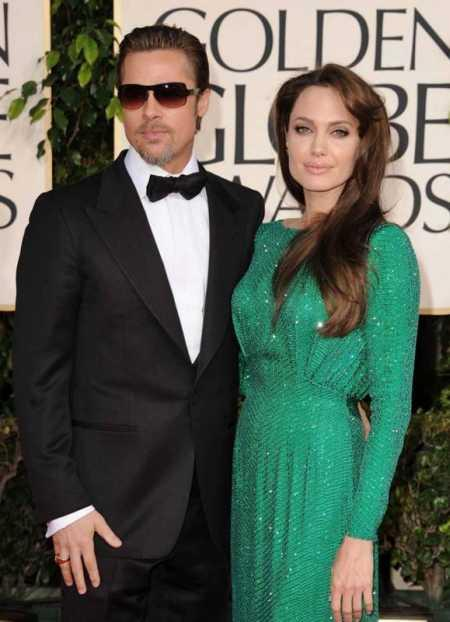 Brad Pitt and Angelina Jolie green dress picture