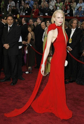 Nicole Kidman amazing red color gown still