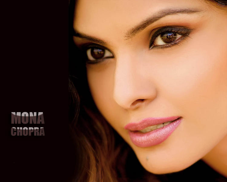 Mona Chopra pink lips and sexy eyes wallpaper