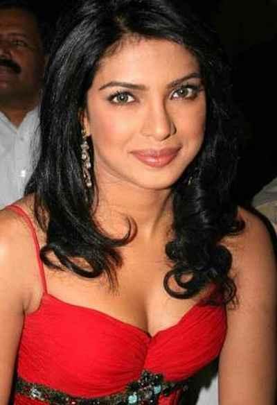 Priyanka Chopra red dress open boob show