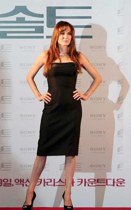Angelina Jolie black color tight dress still