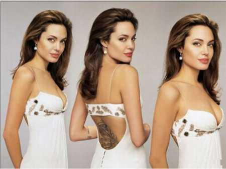 Angelina Jolie white sleeveless dress picture
