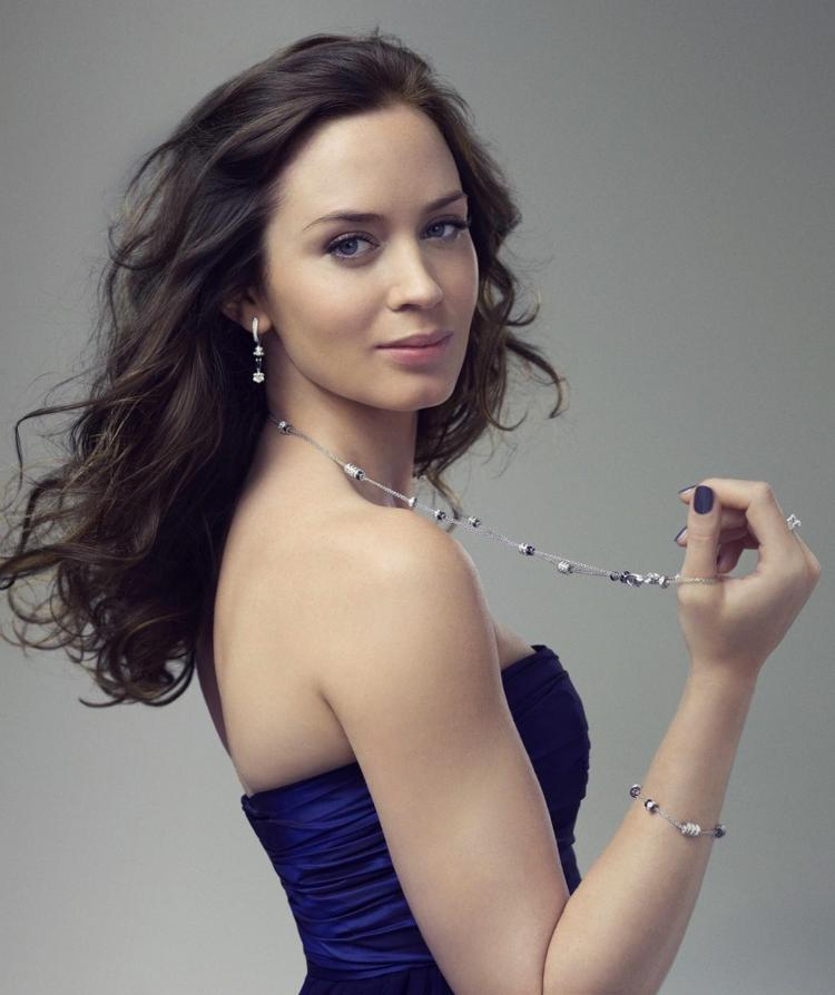 Emily blunt very hot stills with blue color dress