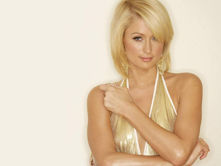 Paris hilton gold white color dress wallpaper
