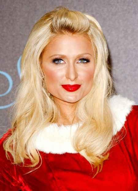 Paris Hilton red dress and red lips wallpaper