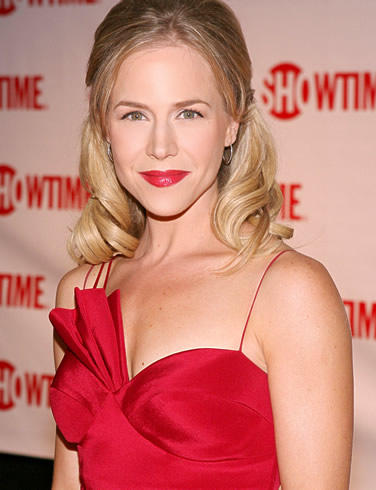 Julie benz red color dress and lips picture