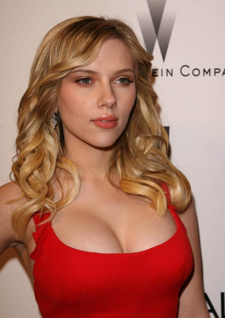 Scarlett Johansson red dress sexy face look
