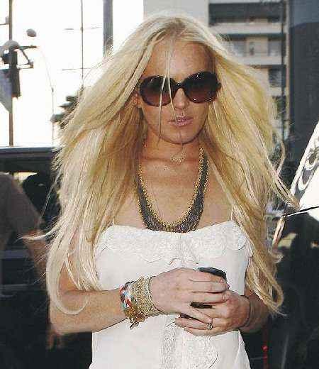 Lindsay Lohan sleeveless dress photo