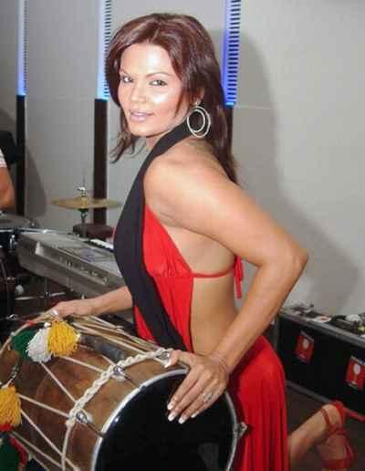 Rakhi Sawant back less dress hot still