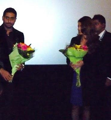 Aishwarya and Abhishek Bachchan with Flowers Bouquet