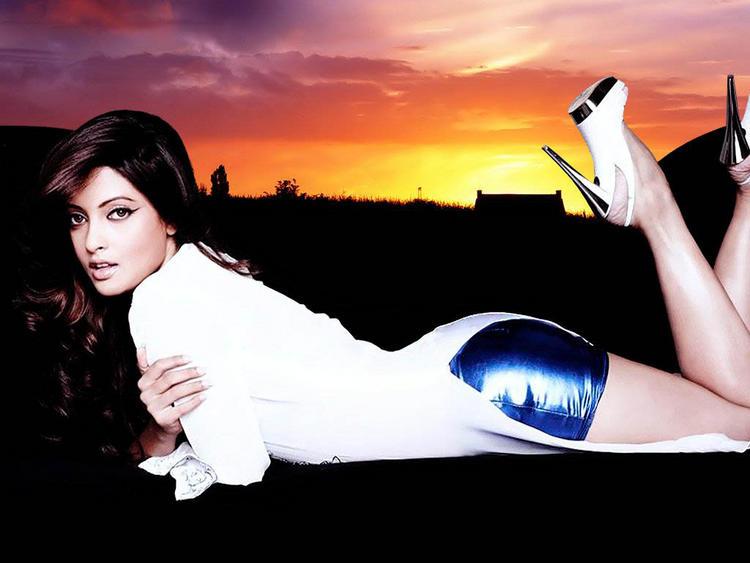 Riya Sen sexy figure pose wallpaper