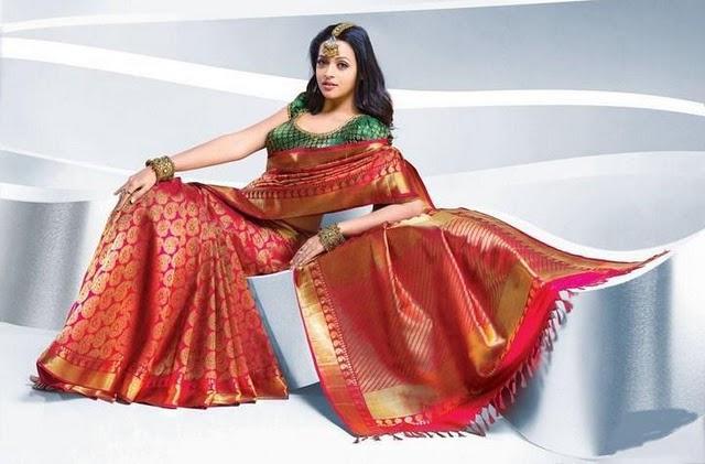 Bhavana red color saree photo