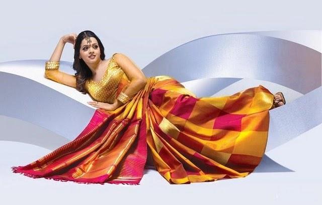 Bhavana gold color saree spicy photo shoot