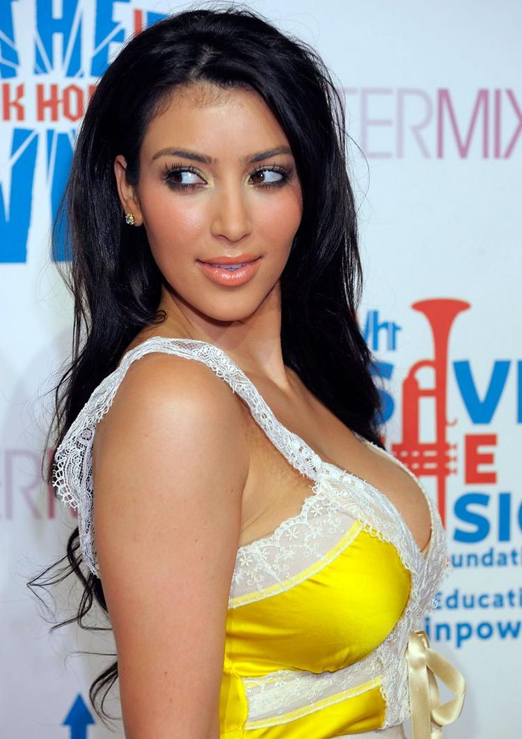 Kim Kardashian yellow color dress latest photo