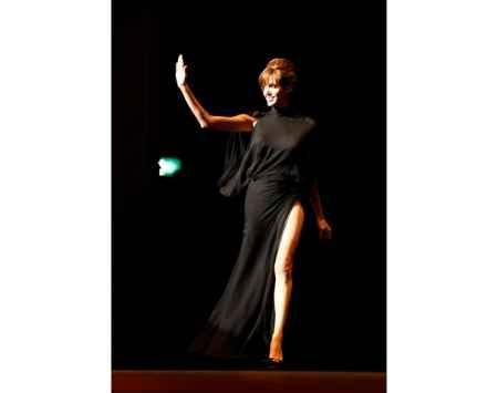 Angelina Jolie black dress hot still