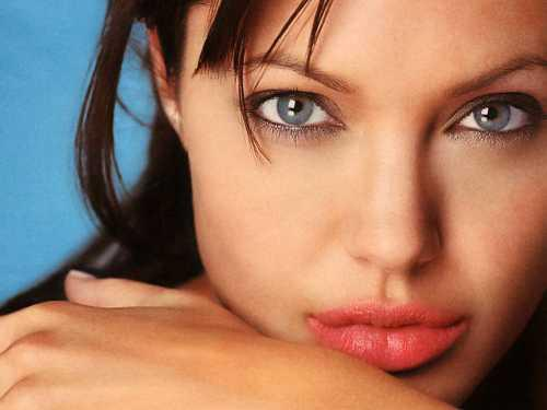 Angelina Jolie pink lips and smoky eyes look