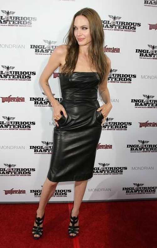 Angelina Jolie black tight sleeveless dress still
