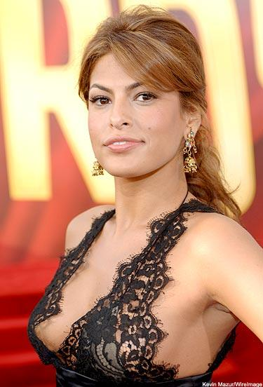 Eva Mendes sexy black dress hot face look