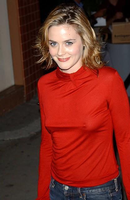 Alicia Silverstone red color dress photo