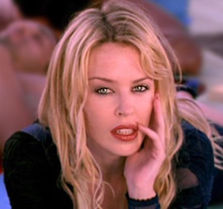 Kylie Minogue wet red lips still
