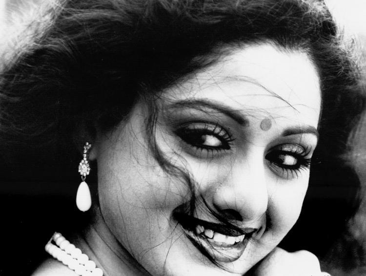 Sridevi kapoor black and white photo