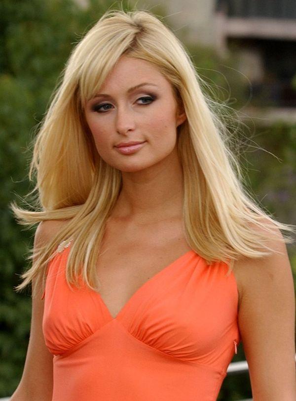 Paris Hilton orange color dress awesome still
