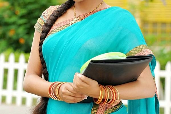 Priyamani light blue color half saree still