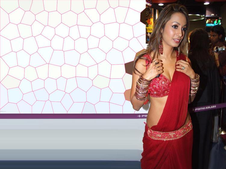 Kashmira Shah red sexy saree wallpaper