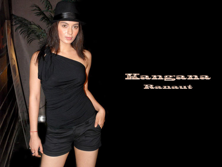 Kangana Ranaut black dress and black hat wallpper