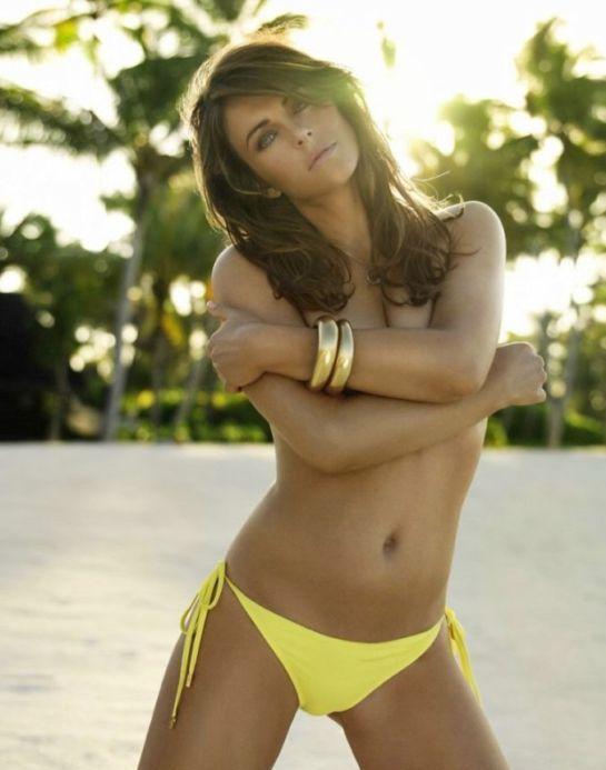 Elizabeth Hurley topless dress beach hot photo