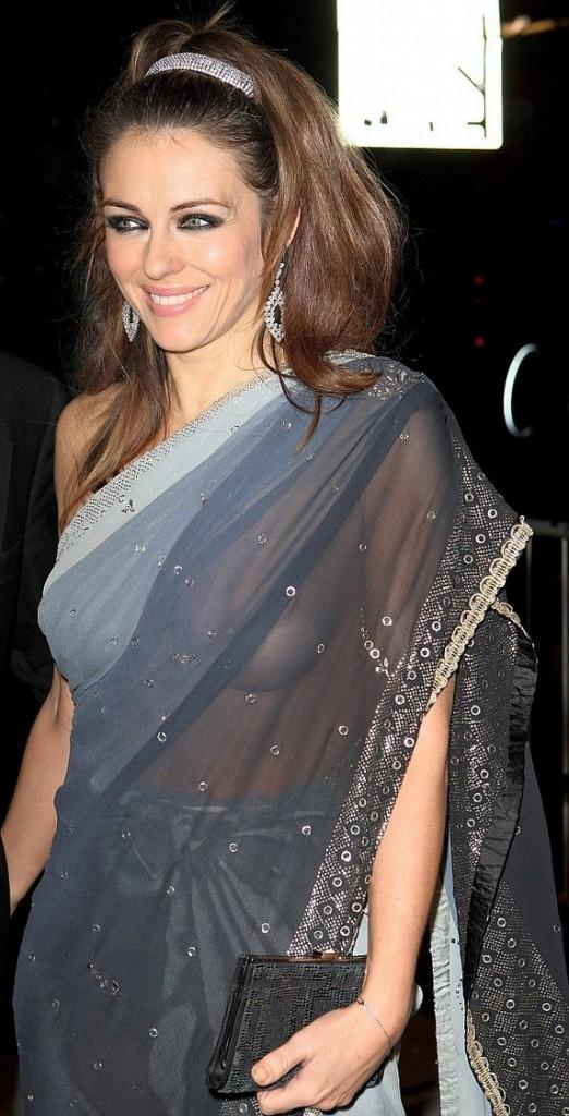 Elizabeth Hurley without blouse saree still