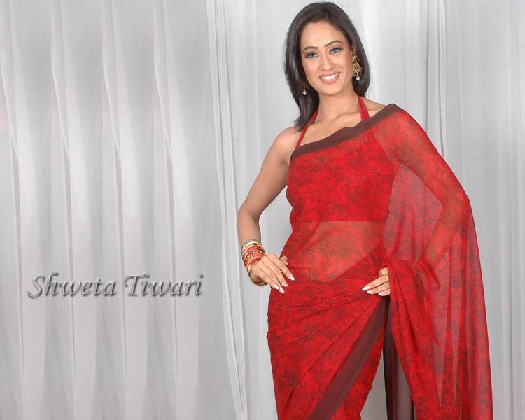 Shweta Tiwari in Halter Neck Saree Blouse
