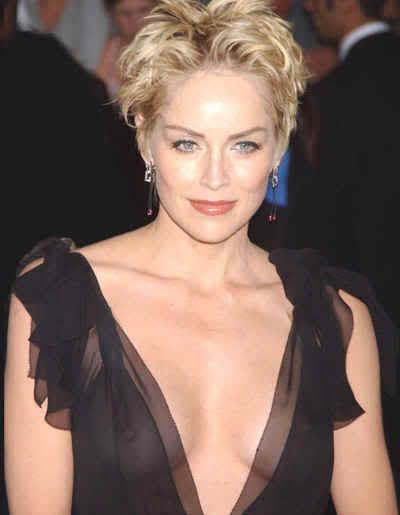 Sharon Stone sexy black color dress still
