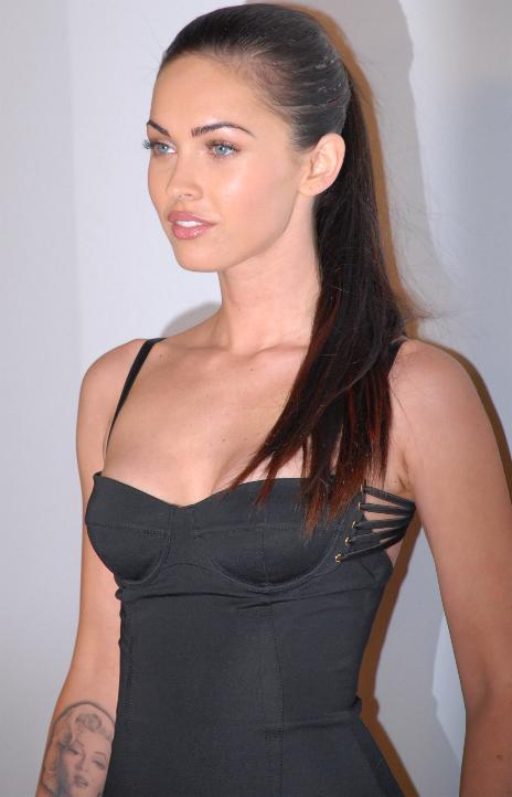 Megan Fox tight black color dress still