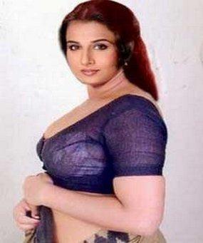 Vidya Balan with blue Blouse hot look