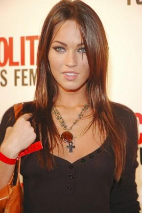 Megan Fox black mix red hair still