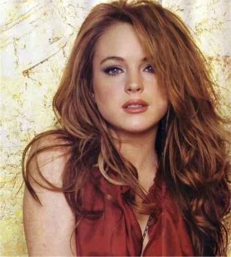 Lindsay Lohan black mix red hair still