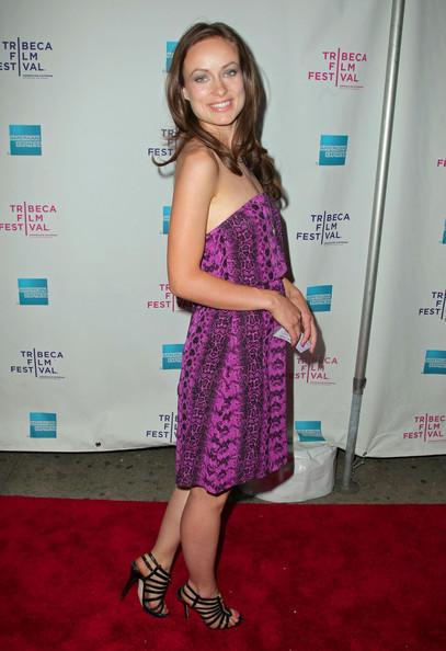 American Actress Olivia Wilde Sleeveless Dress Still