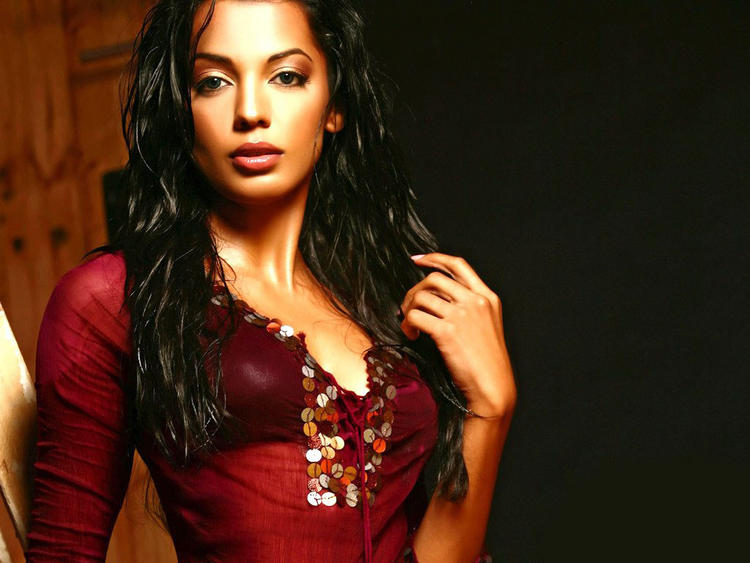 Mugdha Godse Red Dress Wallpaper